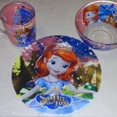 Набор детской посуды 3 предмета София,холодное сердце(фрозен),тачки