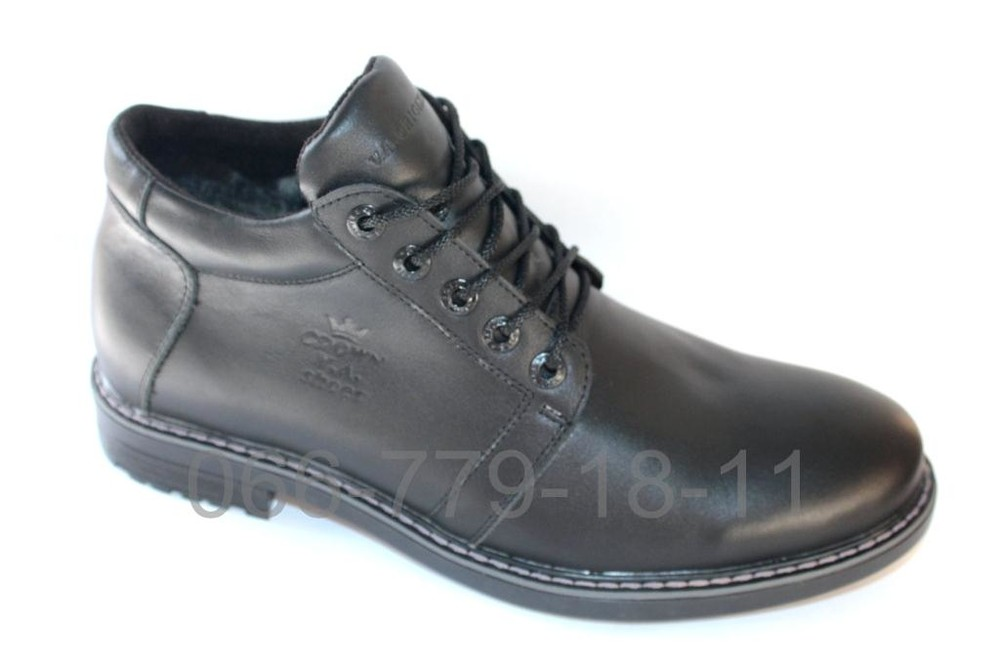 Зимние мужские ботинки антилед, кожа и замша фото №1