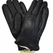 Мужские кожаные зимние перчатки на шерстяном меху