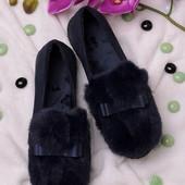 Стильные женские туфли с мехом