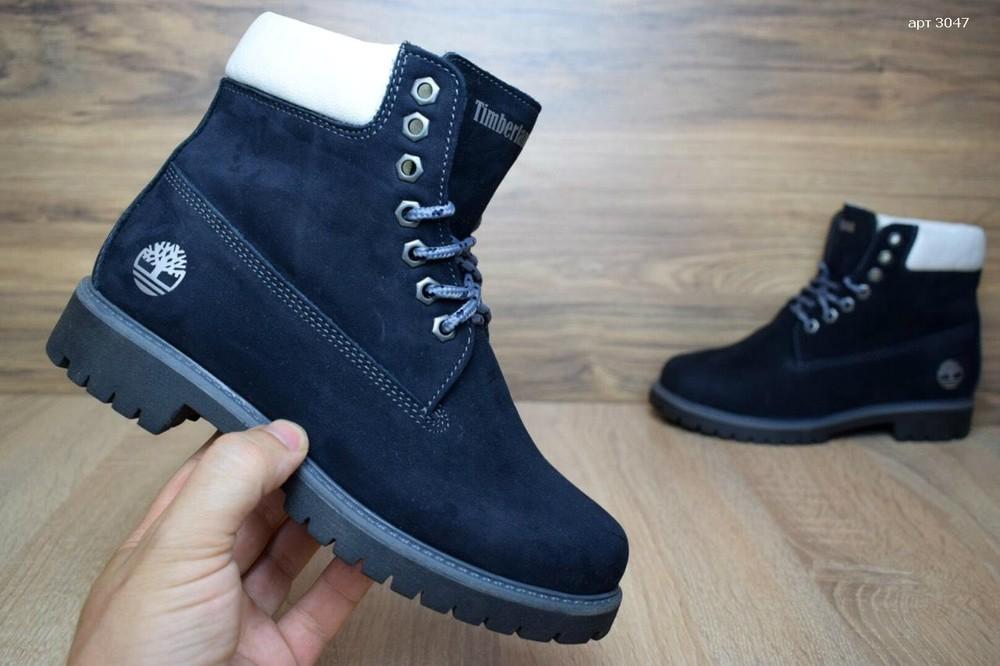 Зимние женские ботинки timberland dark blue фото №1