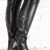 Ботфорты женские черные кожаные без каблука, зимние-европейка