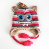 4-12л Шапка сова теплая на меху Kitti уши закрытые 50-56 зима /cool деми розовый