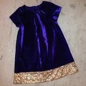 Гламурное велюровое платье Mathercare 4-5л.