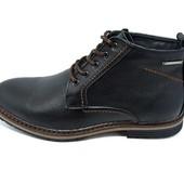 Ботинки мужские кожаные демисезонные на байке Multi-Shoes