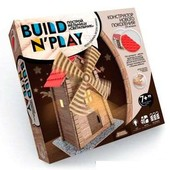 Конструктор нового поколения Buildnplay Мельница из сруба, вращение, свет, на батарейках, 7+