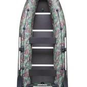 Лодка надувная моторная Kolibri КМ-360dsl камуфляж и фанерный пайол со стрингерами