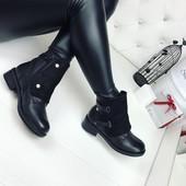 КОД 355 Ботинки зимние, материал:экокожа+экозамш , цвет черный, внутри искусств. мех  высота 13,5