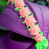 Лента с цветами Канзаши украшение на коляску