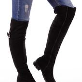 Женские высокие замшевые сапогу на низком каблуке