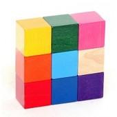 Деревянные цветные кубики 9штук Руди Ду-62а Кубики гранью 4см