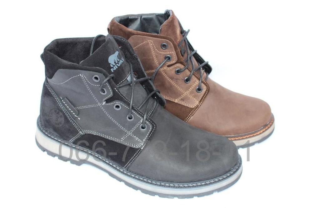 Мужские зимние кожаные ботинки, 2 цвета фото №1