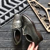 Крутые кожаные туфли броги р-р 41