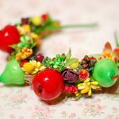 Осенний обруч ободок фрукты овощи на праздник урожая