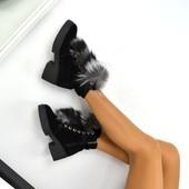 Зимние ботиночки с чернобуркой