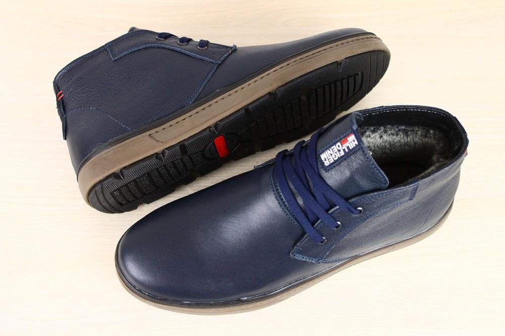 e264ffa19 Ботинки мужские, зимние, из натуральной кожи, синие, на шнурках фото №1