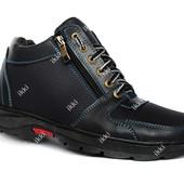 40 и 42 р Ботинки на зиму синего цвета для мужчин (ПЗ-79с)