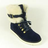 Зимние ботинки на меху синие