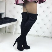 сапоги ботфорты на каблуке деми