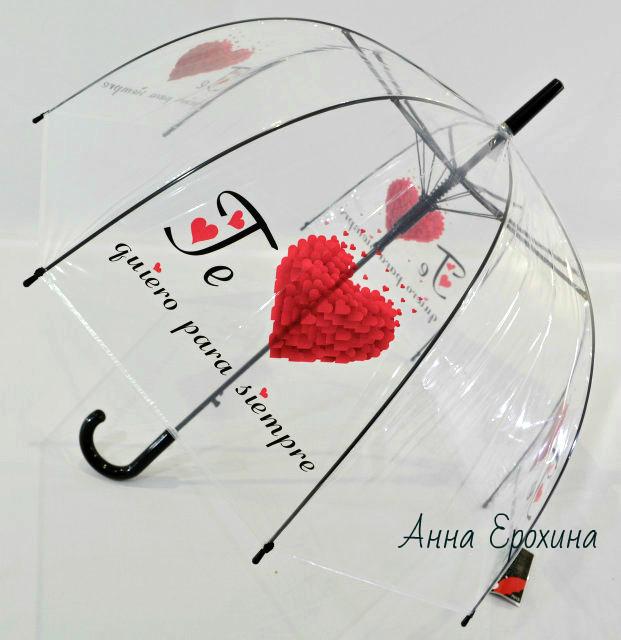 Прозрачный женский зонт трость smile глубокий купол фото №1