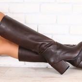 Демисезонные женские сапоги, кожаные, шоколадного цвета, с утеплителем, на небольшом каблуке