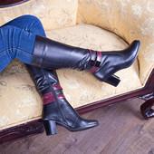 Новинка! женские  кожаные сапоги  Модель :Лл 86530