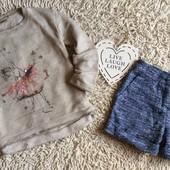 Комплект Next из кофты с балериной и буклированых шорт на 7 лет