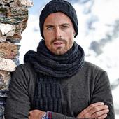 Роскошный мужской длинный шарф объемной вязки, размер 25х200,  Tchibo тсм (германия)