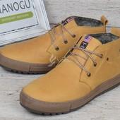 Ботинки натуральная кожа и мех Montana casual yellow на меху мужские зимние прошитые