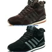Кроссовки зимние Adidas, 40-45, замша на меху, код kv-3180