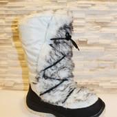 Сапоги зимние женские дутики белые