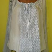 Красивая блуза 48-50 р-р, очень приятная к телу, состояние отличное. Длн 73 см, ширина по подмышкам