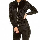 Размеры 42-48 Стильный женский бархатный спортивный костюм