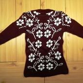 Детский свитер для девочки Цветы рр. 122-152 Beebaby (Бибеби)