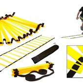 Координационная лестница дорожка для тренировки скорости 4111: 6м, 12 перекладин (6мx0,52мx4мм)