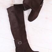 Зимние женские ботфорты-европейка, замшевые, шоколадные, на высоком, устойчивом каблуке
