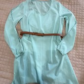 Платье туника бирюзовое шифон, р-о S-M