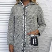 Размеры 42-48 Стильное буклированное женское пальто