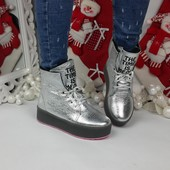 Зимние женские ботинки. Натуральная кожа.Цвет серебро. Р.36-39