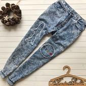 Крутые винтажные джинсы на высокой талии с нашивками рр Хл