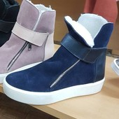 Слипоны, ботинки зимние, натур. замша на меху, р. 36-41, синий, код ks-1499