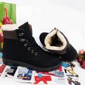 Зимние женские нубуковые ботинки. Р.36-40