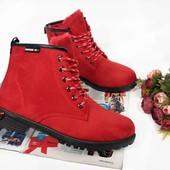 Зимние женские замшевые ботинки. Р.36-41