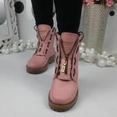 Зимние ботинки Balma__in. Цвет пудра. Натуральная кожа.Р.36-40