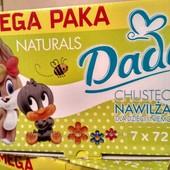 Влажные детские салфетки Dada Naturals 72 на 7шт Польша