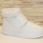 Ботинки зимние женские белые на липучке С466