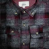 Мужская рубашка в клетку в крапп байка Marks&Spencer L