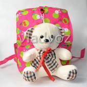 Детский рюкзак для девочек с мягкой игрушкой мишка розовый 3674