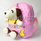 Детский рюкзак для девочек с мягкой игрушкой собачкой розовый Snoopy 3684