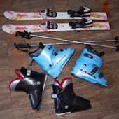 Суперкомплект! лыжи Rossignol+2пары ботинок Lange: 19,5 и 22 см+палки